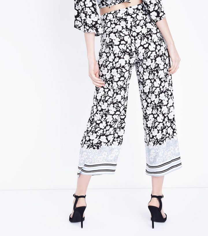 23e0f8bc04 Black Floral Border Print Wide Leg Trousers