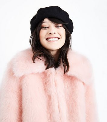Cameo Rose Pink Collared Faux Fur Jacket New Look