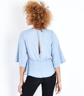 Pale Blue Tie Front Angel Sleeve Blouse New Look
