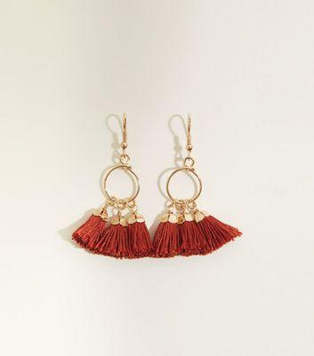 Cameo Rose Tassel Charm Hoop Earrings by New Look