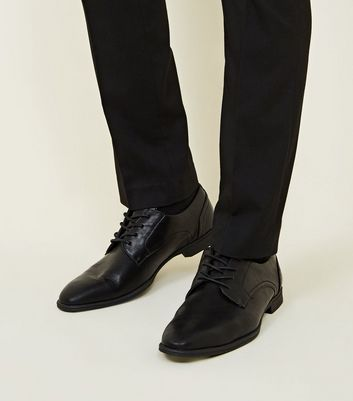 Black Leather-Look Lace Up Formal Shoes