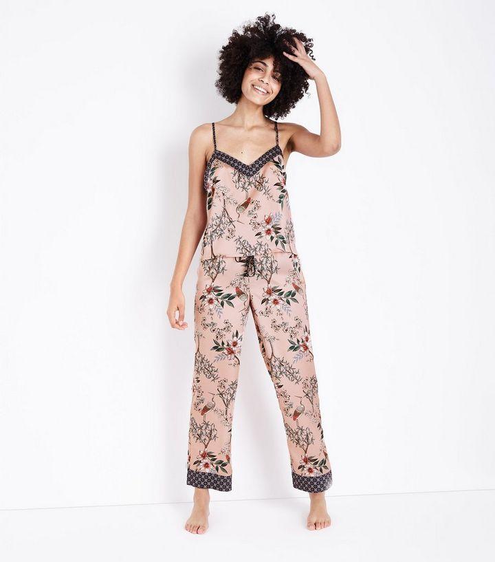 c6774bf098 Selina Mid Pink Floral Satin Pyjama Trousers
