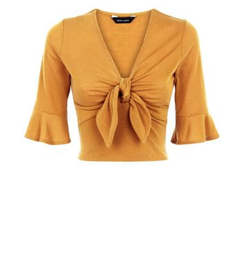 Yellow Ruched Tie Front Crop Top New Look