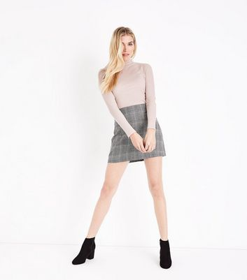 Black Prince of Wales Check Mini Skirt New Look