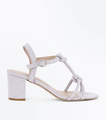 Girls Grey Suedette Knot Front Block Heels