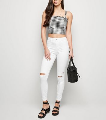 White Mid Rise Super Skinny India Jeans