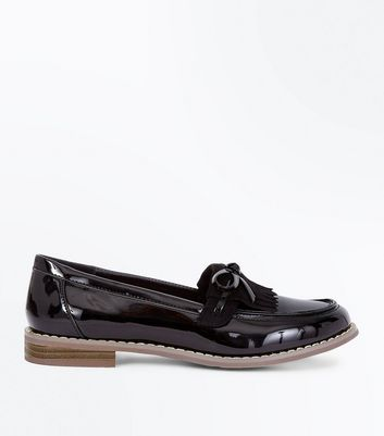 Girls Black Patent Bow Front Loafers