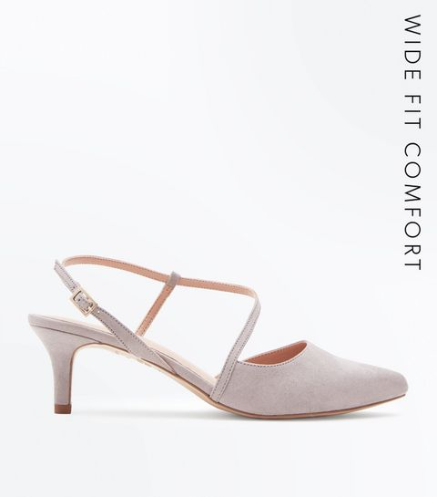 a68d49afcb00 ... Wide Fit Grey Comfort Flex Asymmetric Strap Heels ...