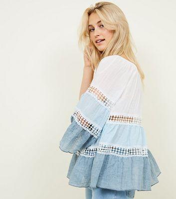 Blue Vanilla Blue Tiered Sleeve Crochet Trim Top New Look