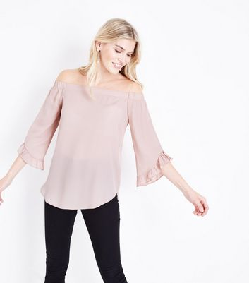 Pale Pink Frill Trim Bardot Neck Blouse New Look