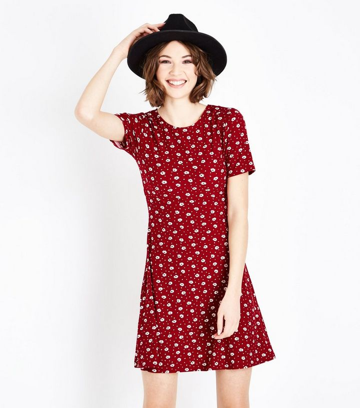 833d60a99a7 Tall Red Ditsy Floral Soft Touch Skater Dress