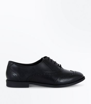 Girls Black Leather Brogues