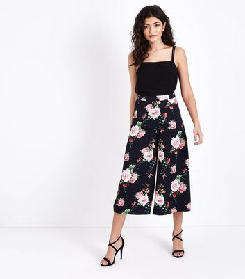 Black Floral Cropped Wide Leg Trousers New Look