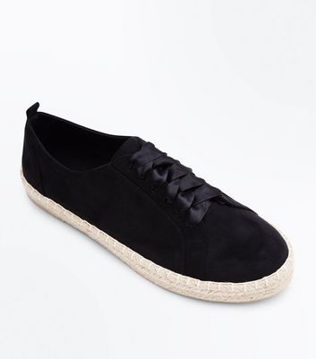 Black Suedette Ribbon Lace Up Espadrille Trainers