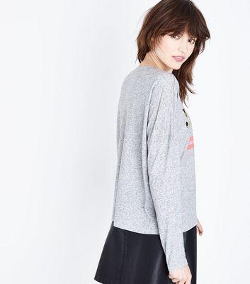 Grey Marl J'Adore Metallic Slogan T-Shirt New Look