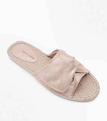 Rose Gold Knot Strap Espadrille Sliders
