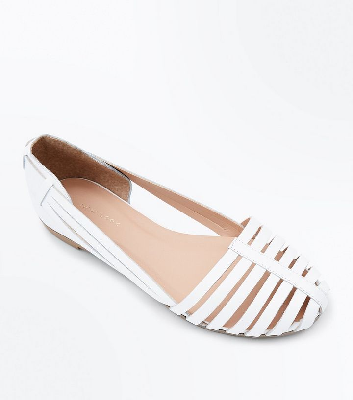 a39070f2a White Leather Woven Caged Ballet Pumps | New Look