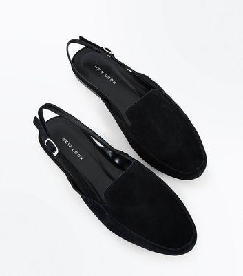 Black Suede Slingbacks New Look
