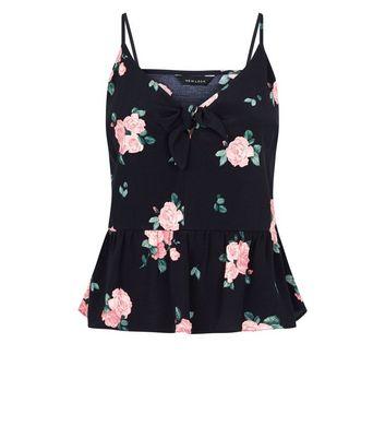Black Floral Print Tie Front Cami New Look