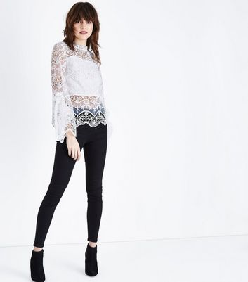 Parisian White Lace Frill Sleeve Top New Look