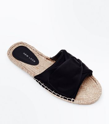 Black Satin Knot Strap Espadrille Sliders