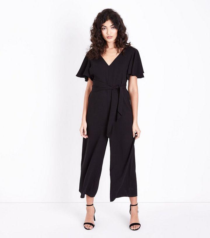 c1fac297812 Black Flutter Sleeve Tie Waist Jumpsuit