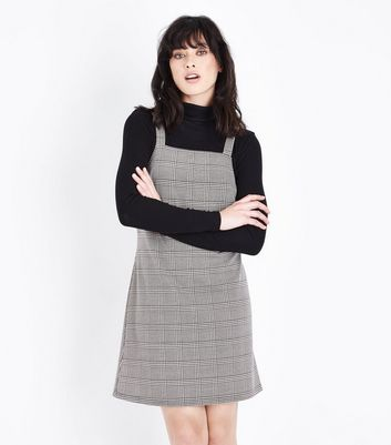 Black Prince of Wales Check Pinafore Dress New Look