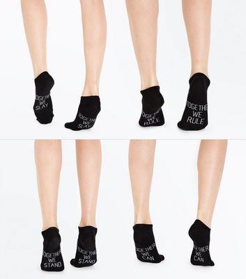 4 Pack Black Together We Can Trainer Socks New Look