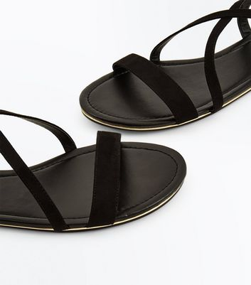 Wide Fit Black Suedette Metal Edge Strappy Sandals New Look