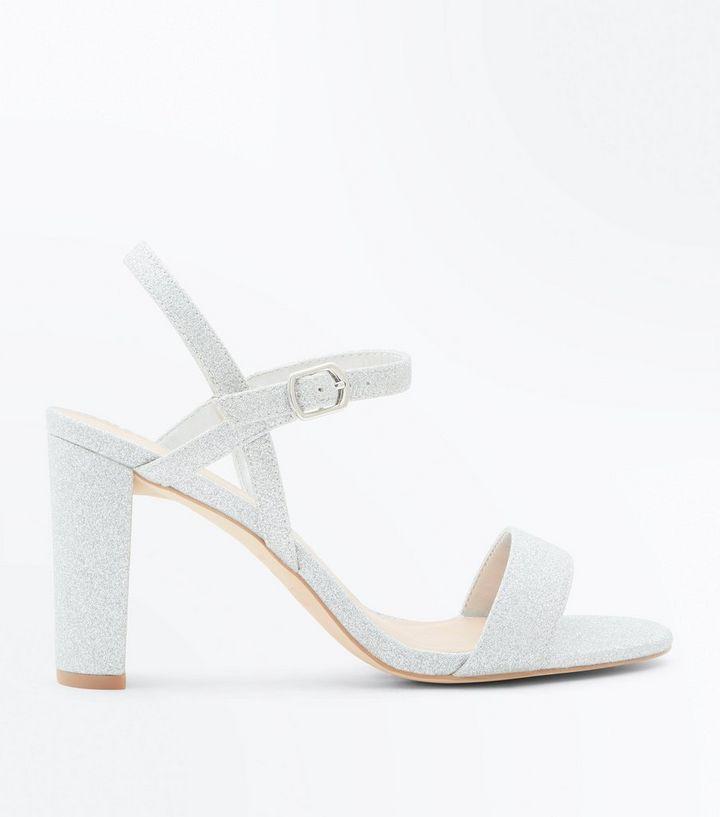 ea6445e0282 Wide Fit Silver Glitter Block Heel Wedding Sandals New Look