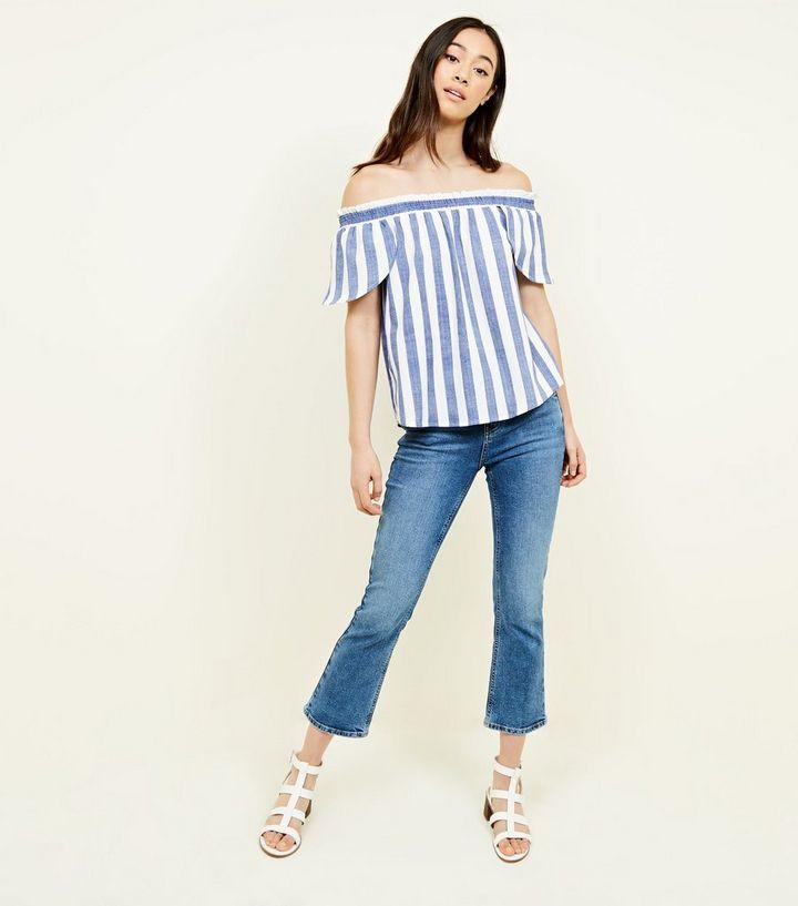 0d5d062886ef93 ... Blue Woven Stripe Bardot Top. ×. ×. ×. Shop the look