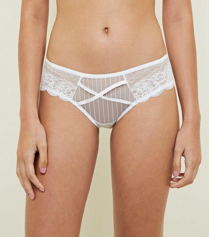 fe039635e8d White Lace Stripe Mesh Cross Strap Brazilian Briefs | New Look