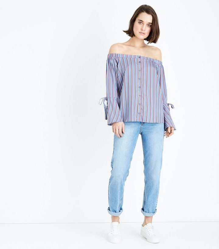 7efacd0935bad8 Home · Womens Sale · Blue Stripe Button Front Tie Sleeve Bardot Top. ×. ×.  ×. Shop the look