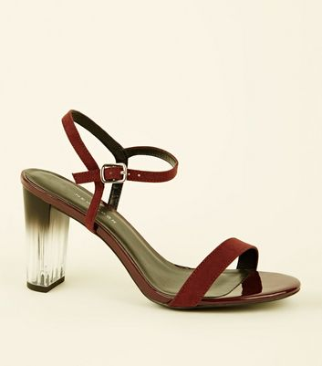 Wide Fit Burgundy Clear Ombré Heel Sandals