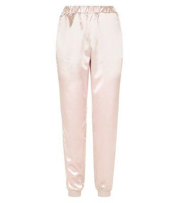 Parisian Pale Pink Satin Stripe Side Joggers New Look