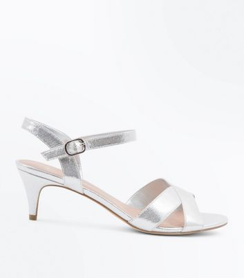 Wide Fit Silver Kitten Heel Wedding Sandals