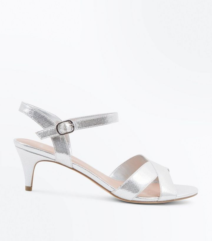 2910fb99db9 Wide Fit Silver Kitten Heel Wedding Sandals