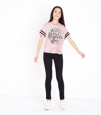 Teens Shell Pink Tie Dye Los Angeles T-Shirt New Look