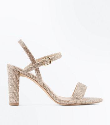 Wide Fit Gold Glitter Block Heel