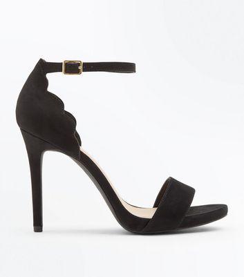 Black Scallop Edge Stiletto Heels