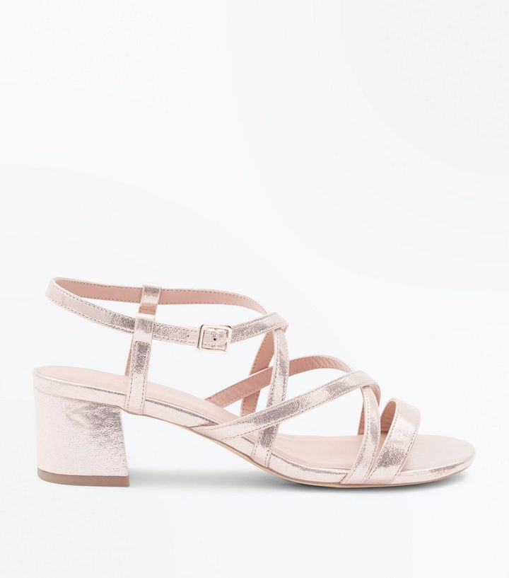 fbf2c0128f Wide Fit Gold Strappy Low Block Heel Sandals | New Look