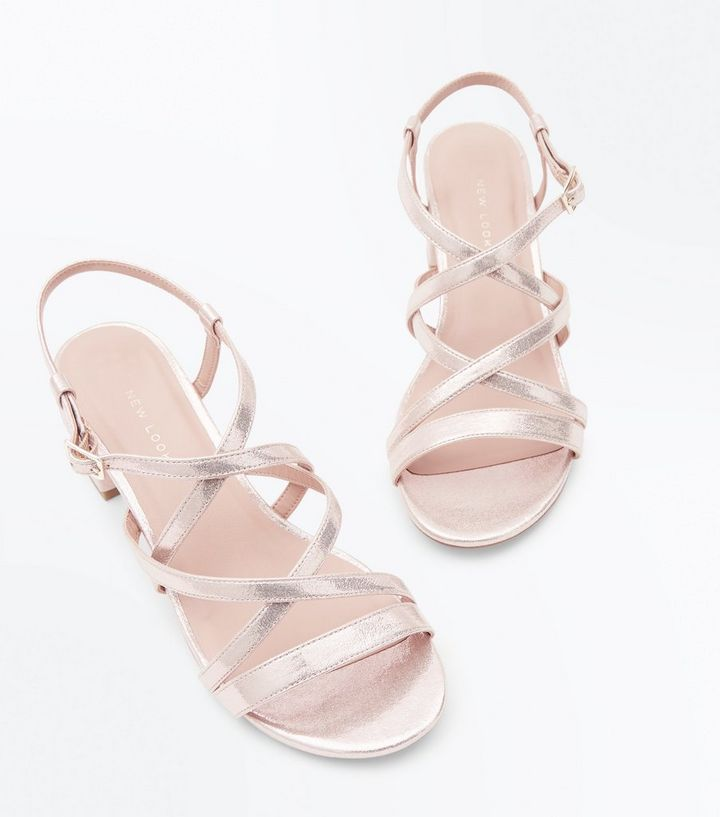 61b11e419c82e ... Wide Fit Gold Strappy Low Block Heel Sandals. ×. ×. ×. Shop the look