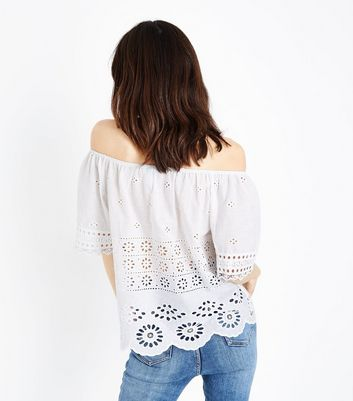 blue vanilla white crochet cut out top new look