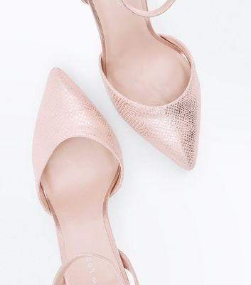 Rose Gold Faux Snakeskin Two Part Pointed Heels New Look