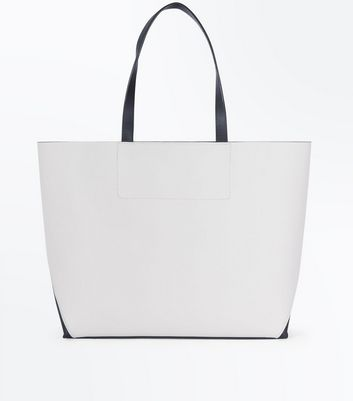 Black Colour Block Tote Bag New Look
