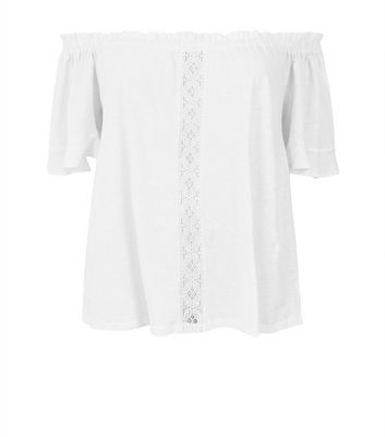 Curves White Lace Panel Bardot Neck Top New Look