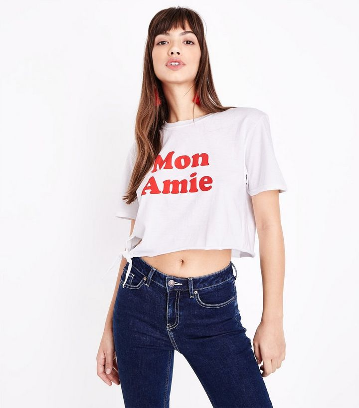 c1b5c72992ead White Mon Amie Slogan Tie Front Crop T-Shirt