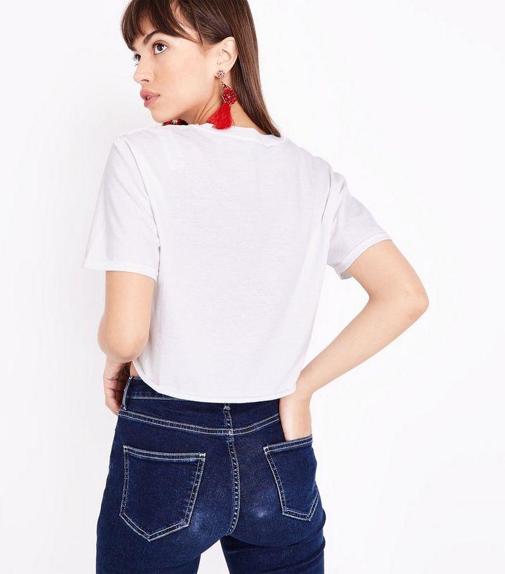 e0a3958f25eba ... White Mon Amie Slogan Tie Front Crop T-Shirt. ×. ×. ×. Shop the look