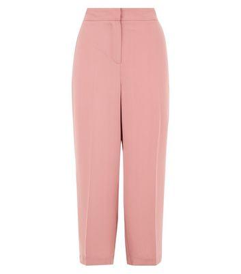 Pink Side Stripe Cropped Wide Leg Trousers New Look