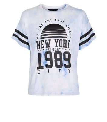 Teens Pale Blue We Are The East Coast Tie Dye T-Shirt New Look
